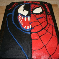 Venom Spiderman Chocolate cake covered with buttercream. Made for a friends son.