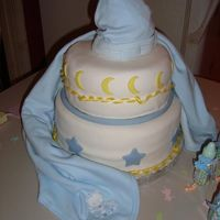 Goodnight This a baby shower cake I did late friday night for a friends shower it was very rushed. It is covered in Satin Ice with Satin Ice moons...