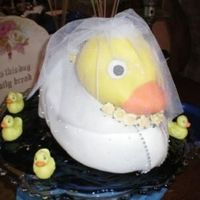 Bridal Duck This cake was done for a friends bridal shower. Her nickname is Duck so it fit her great. It is the 3-D duck and then covered in fondant.