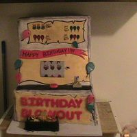 Birthday Slot This cake is covered in foundant. It took me almost a week to do because everything is hand painted. Not to bad for a cake of the size. LOL...