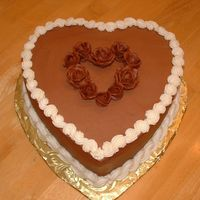 Chocolate Heart Cake Two layer chocolate cake with choclate BC frosting.