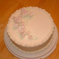 Fondant Roses  White cake w/ BC frosting. Fondant flowers - first time making fondant roses and when the cake was delivered I was told people were...