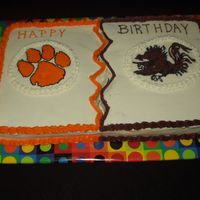 A Family Divided A friend requested a birthday cake for 4 family members 2 of them were Clemson fans and 2 were Carolina fans.