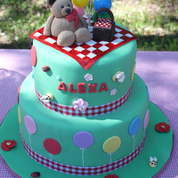"Teddy Bear Picnic 10"" and 7"", fondant over ganache. Everything edible except ribbons and balloons."