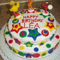 Lea's 2Nd Birthday Buttercream (ok, ok, a can of store-bought frosting) with Fondant accents. This was my first time using fondant, and I like the way it...