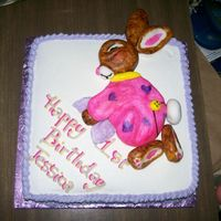 Bunny Cake A cake for my niece's first birthday (she was born very close to Easter). The bunny is molded from fondant and then painted.