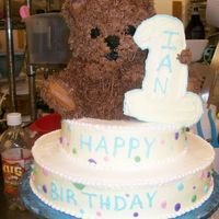 1St Birthday Bear A stacked car with bear and cookie number 1