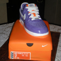 Nike Air Force 1 Cake - Purple This is my second Nike Air Force sneaker. This one was chosen to match the wedding colors and all details were replicated to the T,...