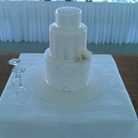 Damask And Luster Ivory Wedding Cake