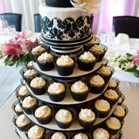 Damask Cupcake Wedding Cake