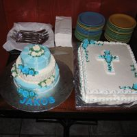 Cakes I Did For A Friend's Little Boy's Baptism. At first I was only planning on doing the tiered one and then found out there would be about a hundred people there.I freaked out about...