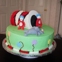 Cat In The Hat And Friends Birthday cake with a Cat in the Hat theme. All buttercream with fondant characters.