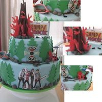 "Camp Rock Birthday Cake Done for my niece. I'd never even heard of Camp Rock! Had to search the net for images to use as inspiration! 12"" & 8""..."