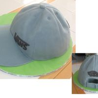 "Vans Hat Cake Made for DH's b-day. Was originally going to be a Yankee's cap (hence the ""Homerun!"" ribbon, but he decided he wanted..."