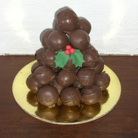 Cake Balls Cake balls - chocolate peanut butter, and raspberry. The holly is gumpaste.