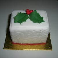 Mini Fruit Cakes Fruit cakes are 2 x 3 x 2.5 inches. Holly is gumpaste.