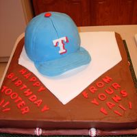 Texas Rangers Fan Birthday cake for a big Texas Rangers fan turning 40-something. His Mom said he would not let anyone cut the cap. He took it home to put in...