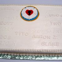 Confirmation Cake Luther rose and confirmands names. This is one of 2 cakes, one with half the names and one with the other half. I also imprinted the words...