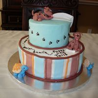 Baby Boy Baby shower cake for a first grandson. The Mom-to-be had painted puppies on the nursery walls.
