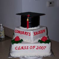 Graduation Cake Vanilla and chocolate cake with buttercream icing. Roses were fondant. All edible except the tassel and top of the hat.