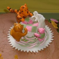 Classic Pooh Characters  This is just a close-up of the top of the cake. The characters are gumpaste/fondant. Pooh fell off once, you can still see his 'foot...