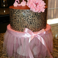 Pink Cheetah Cake ordered to match birthday girl's outfit. Buttercream with edible image wrap and gumpaste accents....my first attempt at gumpaste...