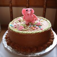 "Pinky The Elephant In Chocolate Heaven A ""SMASH"" cake for the 1 year old birthday girl. ""Pinky"" the elephant is her stuffed pink elephant that she cuddles up..."