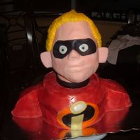 Incredibles Cake 1-Dash This is the second incredibles cake for this particular party. The head is made out of paper mache which I did a week in advance-I then...