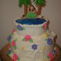 Hawaii Theme Cake All edible.. girl is mmf.. flowers royal icing