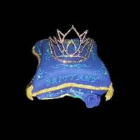 Pageant Queens Pillow This is a tiny picture but oh well , 4 14x14 square cakes carved and iced with cream cheese covered in purple fondant rope border and...