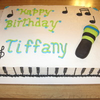 Birthday Cake For A Musician This was a birthday cake for a musician....included a keyboard boarder, mic (foundant), musical notes
