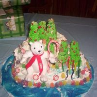 Polar Bear At The North Pole This was my daughters birthday cake made 3 hours before her party ! I hate being behind. We baked a 12x18 sheet pan froze and broke the...