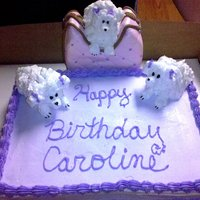 Carolines Doggy Pocketbook with small dog and sheetcake with twinkie dogs on the sheetcake
