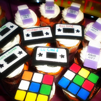 80's Flashback Faves Cupcakes with pacman, rubiks cube, cassettes, & aquanet