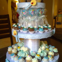 Baby Shower Stand my first home made stand! Very proud of it yay! made for a baby boy shower. filled with an assortment of cupcakes, cake balls, and...