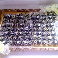 Cake Ball Wedding Tray assorted cake ball flavors, bride requested balls and tray be decorated in pastelle yellow.