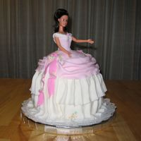 Ballgown Barbie   This was made for a silent auction at an elementary school. The dress is my fondant rendition of a ballgown from the 1840's.
