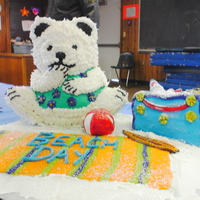 Winter Theme Cake A cake that I made for a decorating competition at a winter carnival that in the town that i work for. Polar bear was made with the wilton...