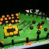 Pumpkin Patch Cake Original design based on a local pumpkin patch. Cake is a half sheet cake done in chocolate, torted with chocolate buttercream and...