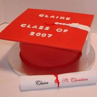 Red Graduation Cap My first cake using Satin Ice fondant for the first time! Loved it - although I still need practice.