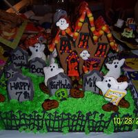 Little Graveyard Cake... My daughters 7th birthday party is four days before Halloween and she wanted a Halloween themed party this year. The Haunted house is the...