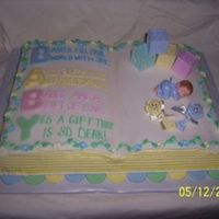 Baby Shower Cake... French Vanilla 2 mix book pan cake with buttercream and fondant accents. This was a very special cake for a very special mother to be. She...