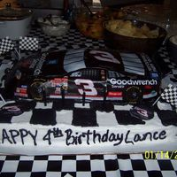 4Th Birthday Dale Earnhardt Car Cake... This was for my little boy's 4th birthday party. He had a race car theme and we went from there. It was a really good cake but...