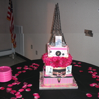 Sweet 16 Paris   Three tier..fresh flowers..theme was Paris