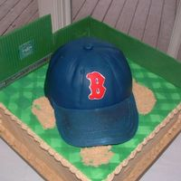 Red Sox Cake   Made for an avid Red Sox fan. Killed me to make this. I'm a Yankee fan. *L*