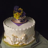 Tea Cup Bridal Shower Tea cup made from sugar and handpainted. Pansies and fondant accents.