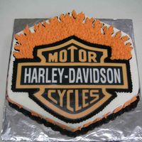 Harley Logo Cake Thanks to Lisa for the idea and advice. Chocolate cake with buttercream icing