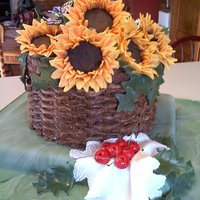 Sunflowers & Cherries In Basket They wanted sunflowers and said do your thing. I thought sunflowers in a basket with the red of cherries and a delicate handkerchief would...