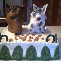 Best Buddies Birthday cake for friend who loves her two horses. Cake is Vanillia with raspberry filling. Horses are made from RK Treats and covered in...