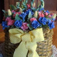 Spring Basket   Chocolate Fudge Cake with Fudge Icing. Fondant Flowers on top with gumpaste/fondant caterpillars.
